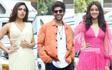 Pati Patni Aur Woh Trailer Launch: Bhumi Pednekar, Kartik Aaryan Arrive; Ananya Panday Rocks In A Hot Pink Mini Dress