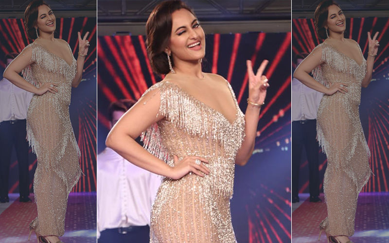 Sonakshi Sinha Makes Heads Turn In A Gold Shimmering Gown At An Event