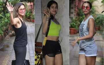 Janhvi Kapoor, Malaika Arora And Amrita Arora Show Up For Their Pilates And Yoga Classes Despite Heavy Downpour