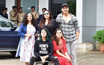 Mission Mangal Team Leaves For Delhi; Akshay Kumar, Vidya Balan, Taapsee Pannu , Kirti Kulhari And Nithya Menen Snapped At Airport