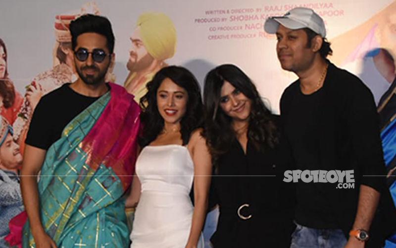 Dream Girl Trailer Launch: Saree-Clad Ayushmann Khurrana Screams For Attention;  Nusrat Bharucha, Ekta Kapoor Look Stunning