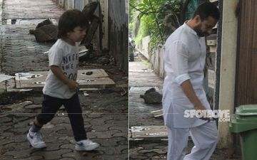 Kareena Kapoor's Munchkin Taimur Ali Khan Snapped With Abba Saif Ali Khan At A Studio