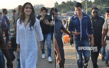 Laxmmi Bomb Co-Stars Akshay Kumar And Kiara Advani Get Snapped At Versova Jetty