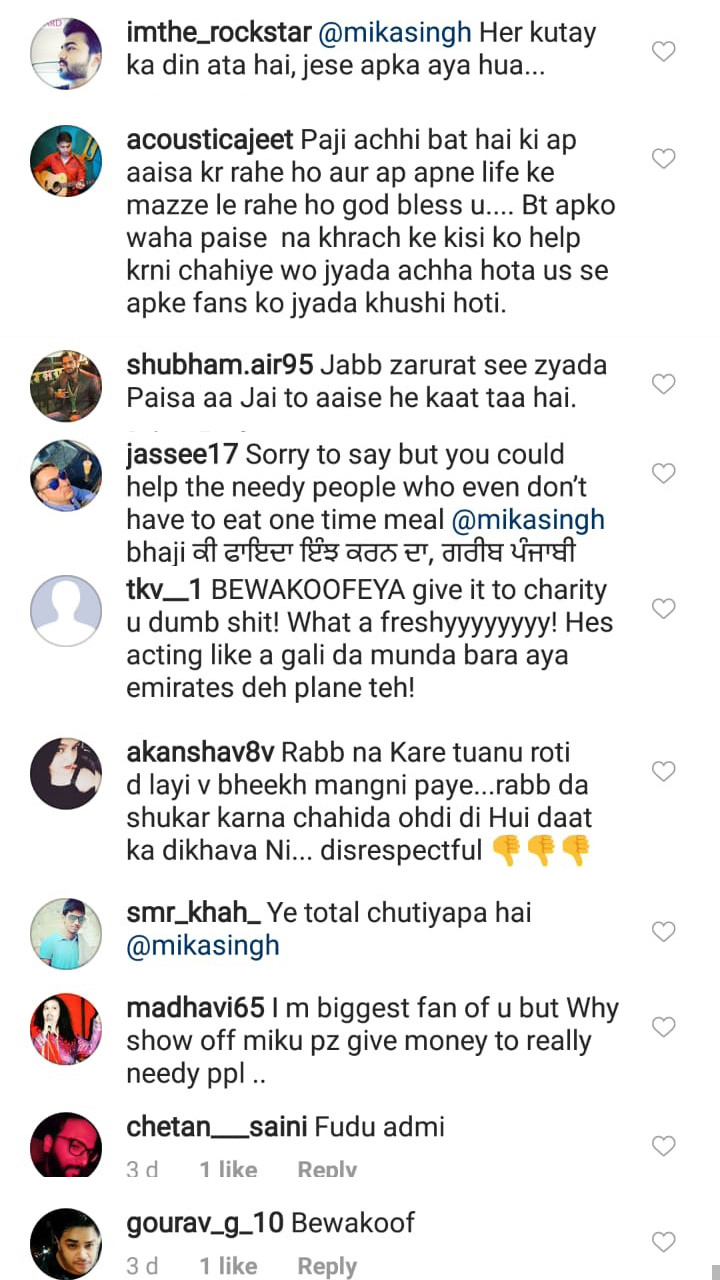 troll comments on mika singh post