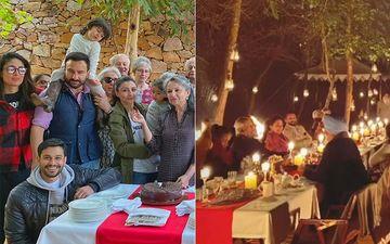 Saif Ali Khan, Kareena And Others Pose For A Pic On Sharmila Tagore's Birthday While Taimur-Inaaya Eye The Cake