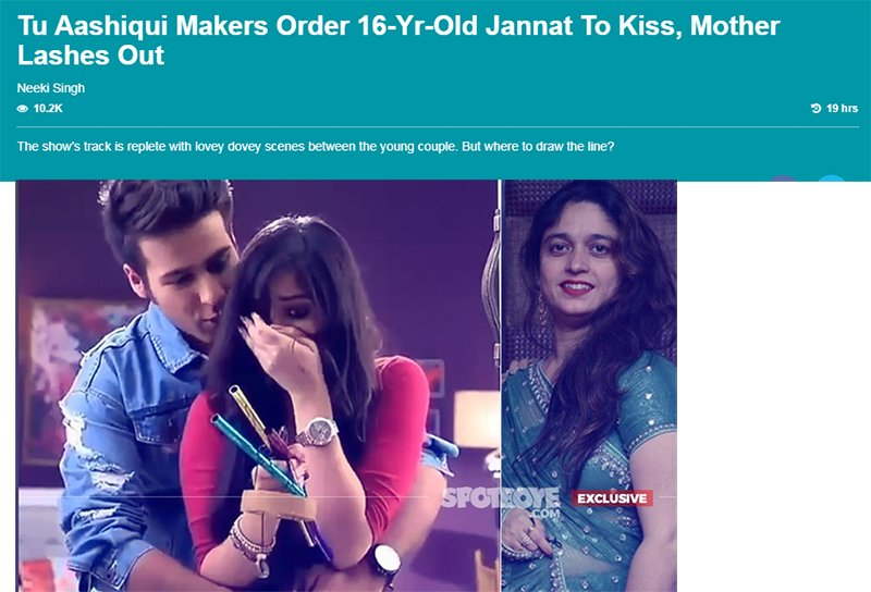 tu aashiqui makers order 16 yr old jannat to kiss mother lashes out
