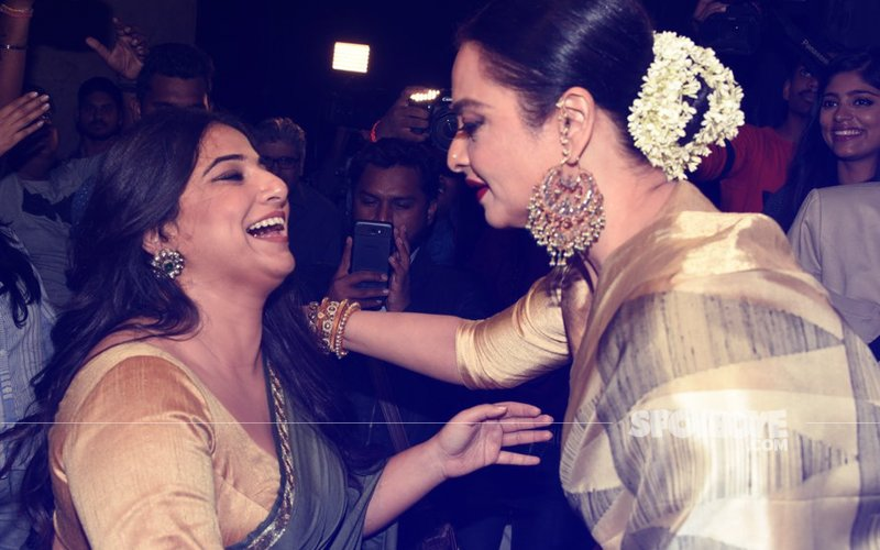 Rekha & Vidya Balan's Candid Moment At Tumhari Sulu Screening