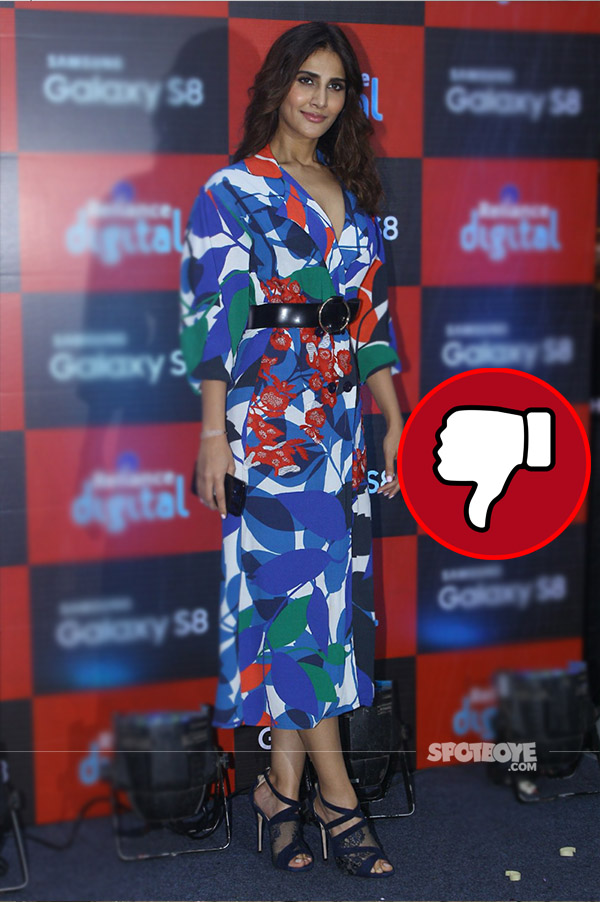 vaani kapoor was a disappointment in printed dress at the launch of samsung galaxy s8