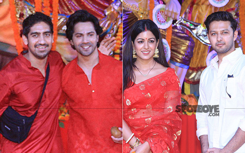 Varun Dhawan, Ayan Mukerji, Ishita Dutta And Vatsal Sheth Seek Blessings At Durga Pandal