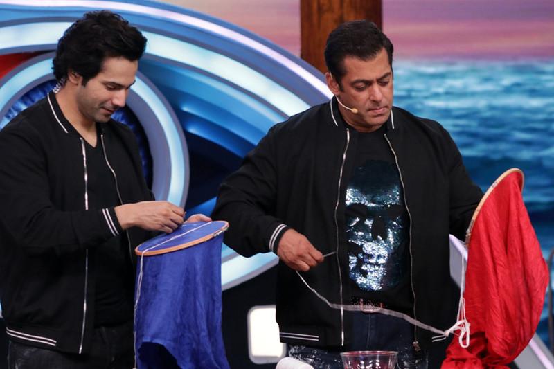 varun dhawan gives stiching lessons to salman khan