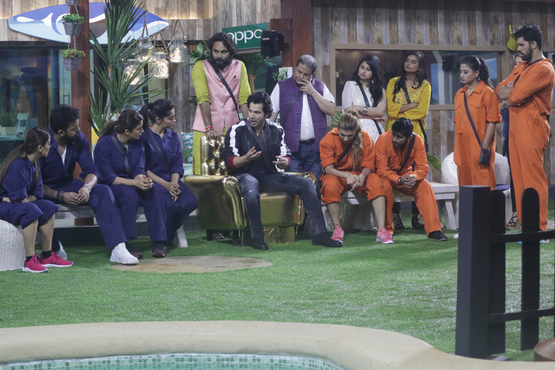 varun dhawan in the bigg boss 12 house with the contestants