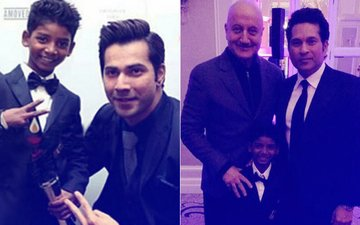 Varun Dhawan, Sachin Tendulkar & Anupam Kher Pose With Lion Fame Sunny Pawar At The Asian Awards In London