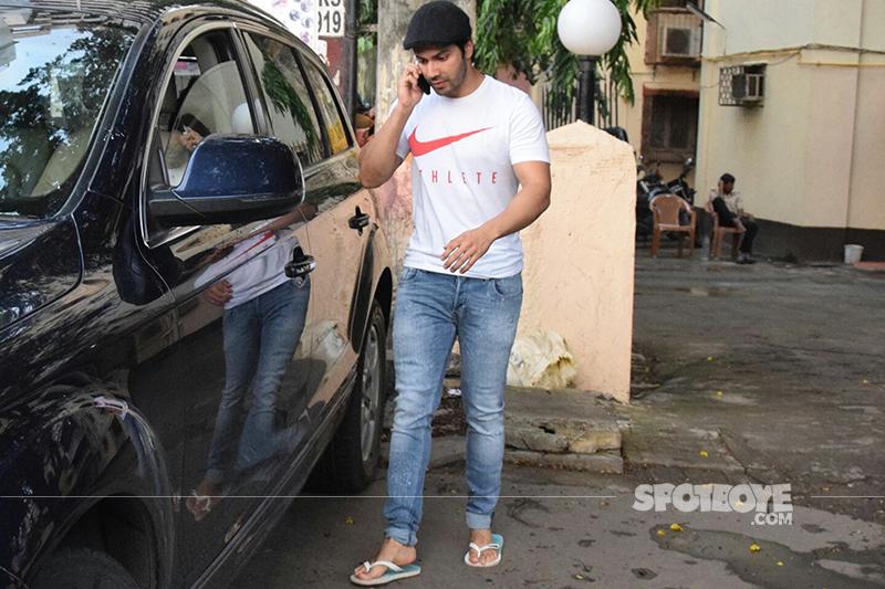 varun dhawan spotted at shoojit sircar office