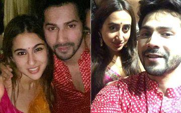 Diwali Bash 2019 Inside Pics: Coolie No. 1 Varun Dhawan Poses With Real And Reel Love Natasha Dalal And Sara Ali Khan