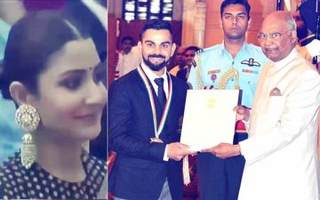 Anushka Sharma Can't Stop Smiling As Hubby Virat Kohli Receives Rajiv Gandhi Khel Ratna Award