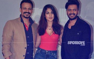 Riteish Deshmukh, Vivek Oberoi & Rhea Chakraborty At Bankchor Promotional Event