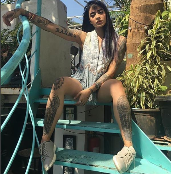 vj bani has several tattoos on her body