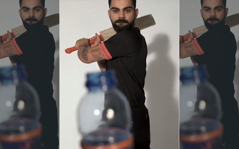 Virat Kohli's Bottle Cap Challenge:  Bat In Hand, Virat Crushes The Challenge To Ravi Shastri's Commentary In The Background