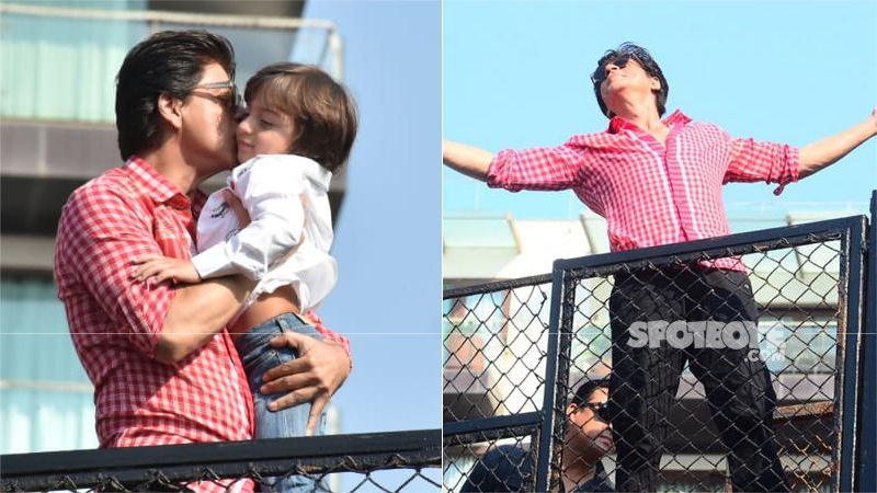 Birthday Boy Shah Rukh Khan Kisses AbRam & Does His Signature Pose For Fans Outside Mannat - View Pics