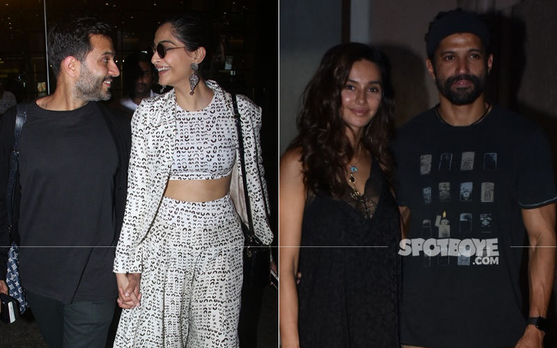 Celeb Spottings: Sonam Kapoor-Anand Ahuja Have Their Eyes Just For Each Other, Farhan Akhtar-Shibani Dandekar Twin In Black
