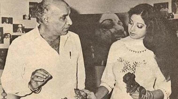 yash chopra and sridevi on the sets of chandni