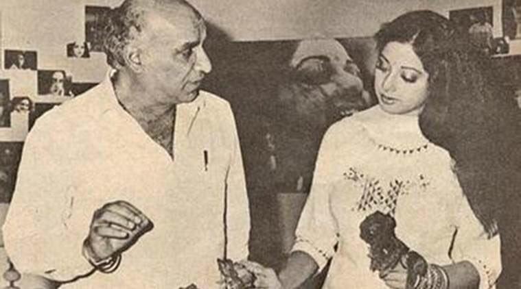 yash chopra and sridevi on the sets of chandni