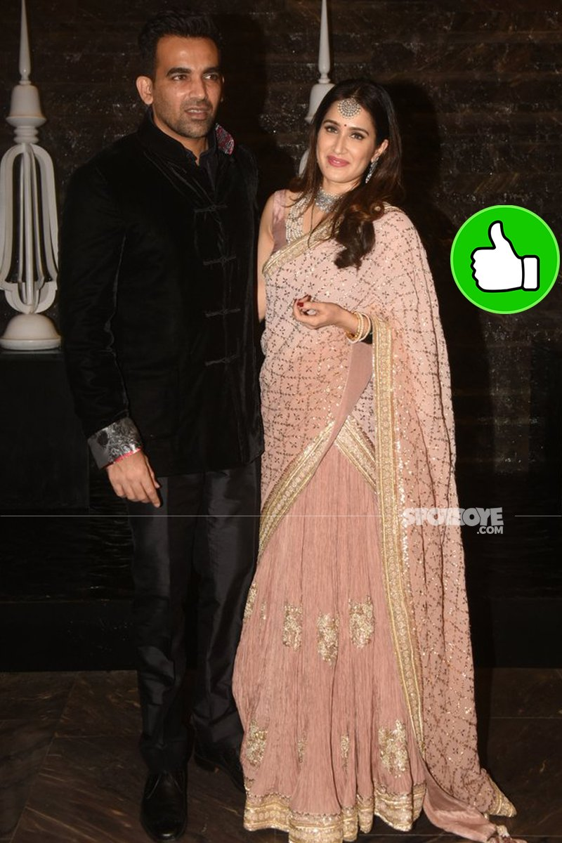 zaheer khan and sagarika ghagtge at their reception